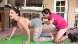 Son watching Stepmom during yoga then fucks her