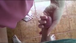 Stepmom handjob son