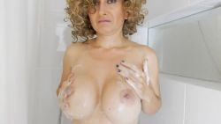 Iranian Muslim Milf, Yasmin Shia doing a Huge Tits Masturbation in Shower