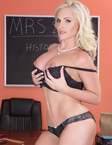 Alena Croft Teacher MILF shows her her big tits in the classroom