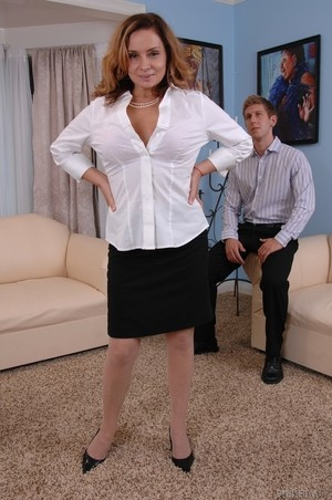 MILF Rebecca Bardoux teases her son with hot panty upskirt n°0