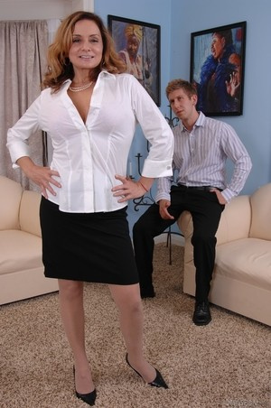 MILF Rebecca Bardoux teases her son with hot panty upskirt n°1