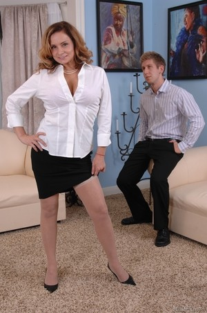 MILF Rebecca Bardoux teases her son with hot panty upskirt n°2