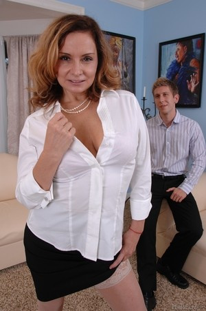 MILF Rebecca Bardoux teases her son with hot panty upskirt n°5