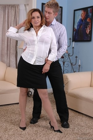 MILF Rebecca Bardoux teases her son with hot panty upskirt n°9