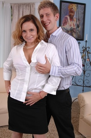 MILF Rebecca Bardoux teases her son with hot panty upskirt n°11