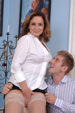 MILF Rebecca Bardoux teases her son with hot panty upskirt n°13