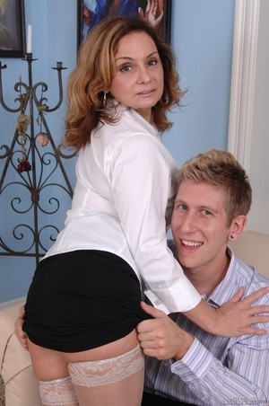 MILF Rebecca Bardoux teases her son with hot panty upskirt n°16